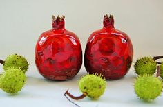 Ceramic Vase Large Pomegranate BIG Grenade Fruit Rubine Red