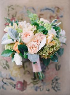 Romantic Pastel Bridal Bouquet With Garden Roses and Hydrangea | Photo: Jose Villa Photography | Bouquet: Southern Bloom |