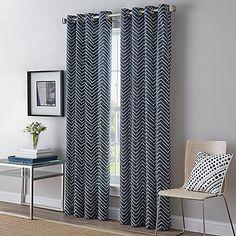 Herringbone Grommet Top Window Curtain Panel bed bath and beyond - indigo blue