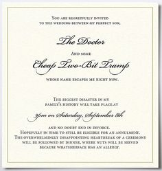 Hilarious wedding invitation!