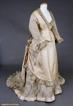Two-tone Silk Bustle Dress, 1870s