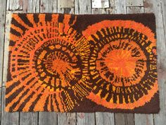 Vintage 1960's Rya Rug  Rusty Orange Gold & by VintageParamour