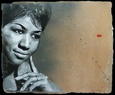 Jef Aersol - #ArethaFranklin - Stencil on cardboard - Available at the gallery
