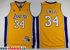 Men's Los Angeles Lakers #34 Shaquille O'Neal Yellow Throwback Stitched NBA Soul Swingman Jersey