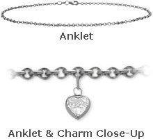 "10K 9"" White Gold Belcher Style 0.85tcw. White Topaz Heart Charm Anklet Elite Jewels. $249.50. Save 41%!"