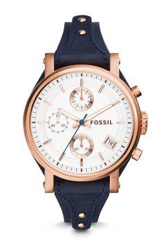 Fossil Original Boyfriend Chronograph Leather Watch - Blue❤️❤️❤️