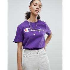 Champion Crewneck T-Shirt With Script Logo ($45) ❤ liked on Polyvore featuring tops, t-shirts, purple, logo t shirts, crewneck tee, crew neck tee, logo tee and retro t shirts