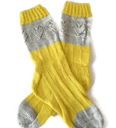 Socks  Hand Knit Women's Gray and Yellow by PointedNeedle on Etsy