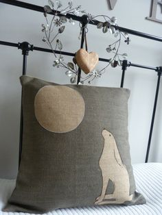 Hand printed large moon gazing hare cushion cover by helkatdesign