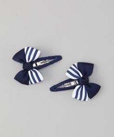 Take a look at this Navy Stripe Snap Clip Set by Bubbly Bows on #zulily today!