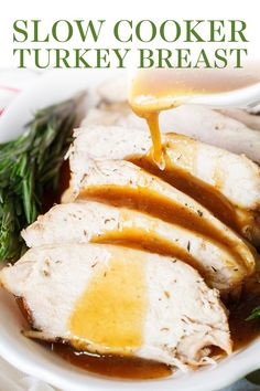 Slow Cooker Turkey Breast with easy gravy requires just 10 minutes prep time and doesn't take up valuable space in your oven on Thanksgiving! Plus it's perfectly tender and moist, it's a win-win! The best easy recipe for a crowd! Easy Crowd Meals, Fun Easy Recipes, Easy Meals, Healthy Recipes, Game Recipes, Savoury Recipes, Slow Cooker Turkey, Cooking Turkey, Kitchens