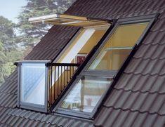 velux balcon Plus Attic Bedroom Designs, Attic Bedrooms, Attic Design, Attic Loft, Loft Room, Bedroom Loft, Loft Bathroom, Attic Renovation, Attic Remodel