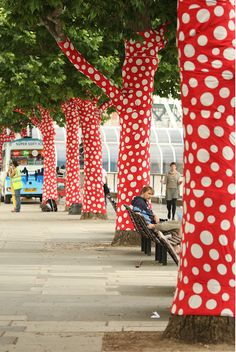 Now wouldn't that be wicked cool to polks dot bomb some trees?  NONCHALANT: Yayoi Kusama and Louis Vuitton