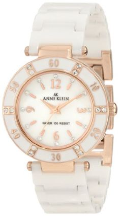 Anne Klein Women's 109416RGWT Swarovski Crystal Accented Rosegold-Tone White Ceramic Watch