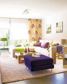 Purple living room furniture green and purple color scheme for living room design modern living room . Casual Living Rooms, Colourful Living Room, Living Room Decor Cozy, My Living Room, Small Living, Modern Living, Colorful Rooms, Minimalist Living, Modern Family