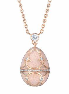 Fabergé Tsarskoye Selo Egg Pendant in Powder Pink