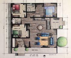 Rendered Floor Plan    Hand Rendered Using Prismacolor Pencils    Done by Miranda Klink