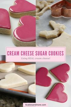 These really are Perfect Cream Cheese Sugar Cookies! They're made with REAL cream cheese and aren't too sweet. Cookies Cupcake, Cupcakes, Yummy Cookies, Valentine Cookies, Heart Cookies, Christmas Cookies, Cookie Favors, Baby Cookies, Flower Cookies
