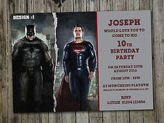 12 #batman vs superman #personalised #party invite a6 photo, View more on the LINK: http://www.zeppy.io/product/gb/2/262343186623/