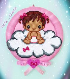 and a perler bead baby girl! Hama Beads Patterns, Beading Patterns, Embroidery Patterns, Diy Perler Beads, Pearler Beads, Plastic Canvas Coasters, Plastic Canvas Patterns, Beaded Cross Stitch, Cross Stitch Baby