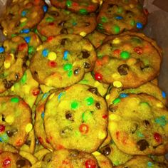 Fabulous M&M cookies! 1 cup salted butter melted and cooled, 2 eggs, 3/4 c brown sugar, 1/4 c white sugar, 1 3.4 oz french vanilla pudding mix, 1 tsp vanilla, 1 3/4 c flour, 1 tsp salt, 1 tsp baking soda, 1 bag Mini M&Ms, and 1/2 bag semi sweet chocolate chips. Heat oven to 375. Cream butter and eggs. Add sugars, pudding and vanilla and mix til creamy. Add dry ingredients and mix with mixer til creamy.  Stir in M&Ms and chips. Drop on ungreased cookie sheet and bake about 8 1/2…