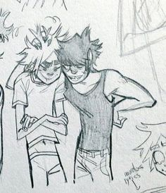 2d And Murdoc, 2d And Noodle, Gorillaz Art, Jamie Hewlett, Cartoon Man, Drawing Reference, Art Drawings, Kiss, Sketches