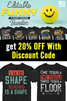 This bundle contains 50 premium designs in vector format that are perfect for t-shirts, hoodies, mugs, and flyers too. With completely editable and pixel perfect vector files you can adapt these t-shirt designs to any size.  If you are looking for some cool t-shirt designs for your new project, this t-shirt design bundle is for you! Coupon Code: 20offnow #funnytshirts #funnytees Funny Tees, Funny Tshirts, T Shirt Design Template, 50 And Fabulous, Vector Format, Flyers, Design Bundles, Cool T Shirts, 50th