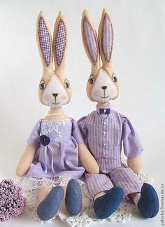 Игрушки животные, ручной работы. Ярмарка Мастеров - ручная работа. Купить Лавандовые зайцы. Handmade. Сиреневый, подарок на новый год, парочка