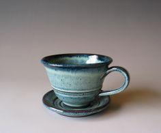 Barbarah Robertson - Blue Teacup & Saucer #BarbarahRobertsonPottery #Tea #Cup #Mug #Pottery #HandmadePottery #Blue #Etsy
