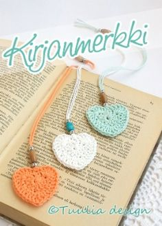 Virkkaus | Tuulia design. Iloa & Ideaa askarteluun ja käsitöihin! Yarn Crafts, Diy And Crafts, Easy Handmade Gifts, Knitted Heart, Crochet Bookmarks, Crochet For Beginners, Crochet Fashion, Bookbinding, Knit Crochet