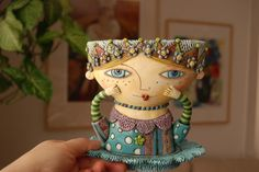 My Owl Barn: Colorful Ceramics by Natalya Sots Ceramic Mugs, Ceramic Pottery, Cerámica Ideas, Pottery Marks, Teapots And Cups, Ceramic Artists, Clay Art, Art Dolls, Biscuit