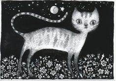 little cat, black and white illustration, tatjana mai-wyss