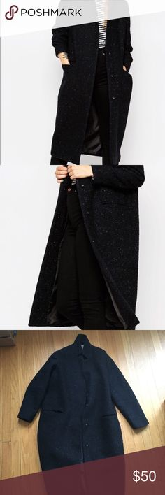 "ASOS black and blue tweed coat Gorgeous black/blue coat with light blue threading. Hits mid-calf on me, I'm 5'8"" Looks super chic dressed up or down and is really warm. Goes with everything. Selling because it's too big on me, I've never worn it. ASOS Jackets & Coats"