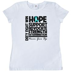 Ovarian Cancer Hope Support Advocate Women's T-Shirt - White | Cancer Shirts | Disease Apparel | Awareness Ribbon Colors