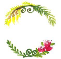 New Zealand native flowers Kowhai and Pohutukawa wreath.