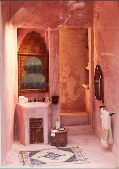 pink Moroccan bathroom with plaster walls. - pink Moroccan bathroom with plaster walls. ABC Home. Morrocan Bathroom, Morrocan Decor, Moroccan Design, Moroccan Style, Bathroom Interior Design, Interior Decorating, Houses Architecture, Style Marocain, Tadelakt