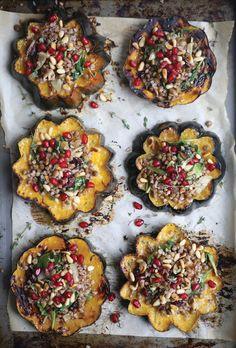 French Lentil and Buckwheat Stuffed Acorn Squash Rings
