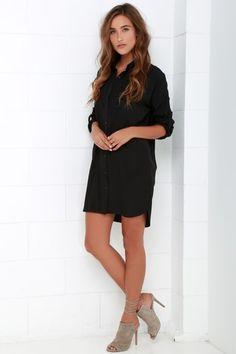 81e11ec7418f City Strut Black Shirt Dress Winter Dresses
