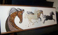 Mid Century Modern Eames Era 1950 60s Horses Stallions Mosaic Sand Beads Thread | eBay