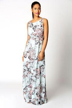 Tessa bow back butterfly print maxi dress