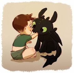 Baby Hiccup and Toothless <3