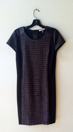 DKNY navy tweed and black faux leather dress 4