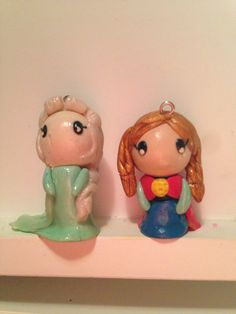 Elsa and Anna polymer clay charms ( from frozen)
