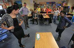 "Russian Delegation in Little Rock, Arkansas having a ""dance lesson!"""