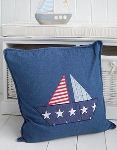 A denim stars and stripes boat cushion