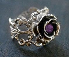 Silver Rose Ring with Amethyst Crystal - Neo Victorian Steampunk Adjustable. $28.00, via Etsy.