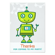 Robot Birthday Invitations Flat Thank You Note Cards | Green Robot Theme