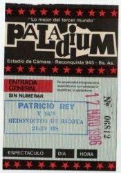 Entrada de Palladium en la presentación de Oktubre de Patricio Rey y sus Redonditos de Ricota