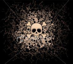 Heap of skulls and bones Royalty Free Stock Vector Art Illustration