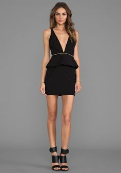 BEC&BRIDGE Christie Peplum Mini Dress in Black - Dresses